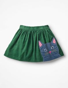NEW Mini Boden girls cat applique green cord skirt yr Modest Outfits, Kids Outfits, Casual Outfits, Latest Fashion For Women, Kids Fashion, Applique Skirt, Toddler Apron, Twirl Skirt, Mini Boden