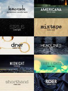 "Theo's favorite free fonts of 2015! ""alphabetized cassette tapes // baron neue // code light // indie rock // ikaros sans // neou // runaway // basic title // nixie one // bebas neue "" [part II]"