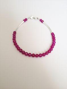 New to LittleGemsByLuisa on Etsy: Magenta Silver Bracelet - Light Bracelet - Dainty Bracelet - Delicate Bracelet - Mulberry Bracelet - Raspberry Agate Bracelet (18.00 CAD)