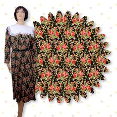 Rose+Bouquet+Floral+Print+on+Black+Polyester+Fabric+58-in+Wide+by+the+yard