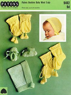 Items similar to PDF Vintage Baby Knitting Patten Pixie Hood Bonnet Hat Bootees Mittens Patons 9462 Lacy Lace Heirloom Stripes EASY on Etsy Baby Booties Knitting Pattern, Baby Knitting Patterns, Crochet Patterns, Baby Girl Hats, Girl With Hat, Girls Hats, Baby Girls, Baby Bootees, Baby Mittens