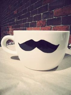 mustache mug. I'm gonna make this with dollar store mugs !!