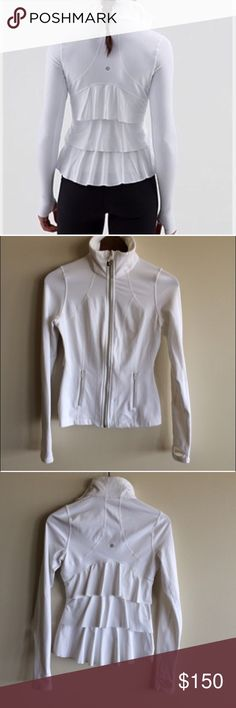 🍋Lululemon Yogi Dance Jacket This gorgeous, hard to find jacket is in great condition with no stains/tears and just the slightest amount of pilling. If features a zip front with hanging Lululemon cylinder, zipper pockets, thumbholes, interior pocket pouches and a stunning ruffle-tiered back. ❌TRADES lululemon athletica Jackets & Coats