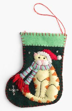 New World Arts 'Cat with Santa Hat' Stocking Ornament   Nordstrom