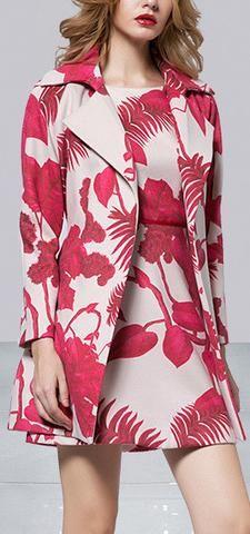 Floral Print Short Coat & Mini Dress Set