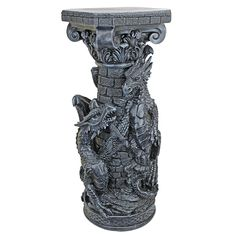Design Toscano Crypt Demons Gothic Dragon Column Statues, Grey: Amazon.co.uk: Kitchen & Home