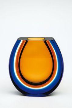 Vase Pavel Hlava 1962 Colourless glass, inside underpinned amber, outside flashed blue, ground and polished