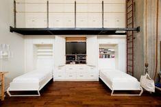lits escamotables peu encombrants et beaucoup de rangement