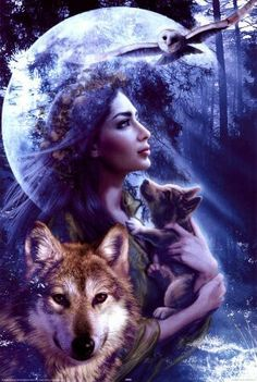 spirit maiden and wolves