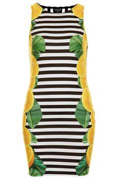 Topshop Stripes and Lemon Print Bodycon Dress, $58; us.topshop.com   - ELLE.com