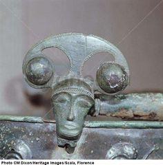 Celtic bronze head on bucket, Aylesford, Kent, England, c. 1st century B.C. > Celtic art