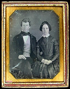 James and Jane Sloan Parker. Picture taken at the time of wedding, February 1851. James graduated from Jefferson Medical College, Philadelphia, became well-known physician, practiced in Glen Moore, PA for more than 40 years. Bow tie.