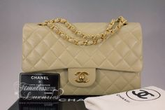 CHANEL Beige Lambskin Classic Double Flap Bag Gold Hw - Timeless Luxuries