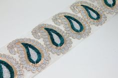 White Fabric Trim Embroidered Wide Trim Silver Sari Border Traditional Indian Paisley Designs Silk Fabric Trim By The Yard on Etsy, $10.50
