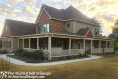 Architectural Designs House Plan 46226LA client-built in Georgia with an expanded porch and side-entry garage. Ready when you are. Where do YOU want to build?