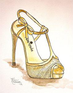 CUSTOM Fashion Illustration  Custom Shoe pen and by KIMPETERSONART, $35.00