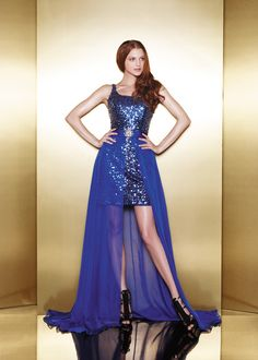 high and low electric blue dress
