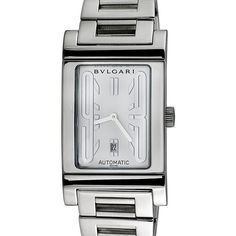 BVLGARI Men's Vintage Men's Bvlgari Rettangolo Stainless Steel Watch,... ($1,699) ❤ liked on Polyvore featuring men's fashion, men's jewelry, men's watches, white, mens wide band watches, mens white watches, mens watches jewelry, vintage mens watches and mens white dial watches