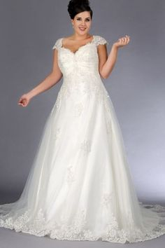 A-line Chapel Train Straps Organza Fabric Plus Size Wedding Dress with Appliques Style pw150513