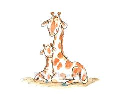 Celebrate the bond between parent and child with this simply beautiful reproduction of my original illustration. - art print from an original watercolor, gouache, and acrylic painting by Kit Chase. -