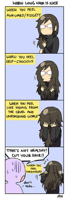4 Panel Life Even though my hair goes below my shoulders, I can still hide part of my face. Funny Cute, Hilarious, Rage Comic, The Awkward Yeti, Life Tumblr, 4 Panel Life, Life Comics, Funny Memes, Jokes
