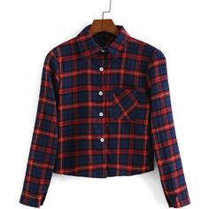 SheIn(sheinside) Red Blue Lapel Long Sleeve Windowpane Plaid Crop Blouse