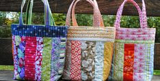 Easy Bags That go Together in Next to No Time! These pretty patchwork bags are perfect for using up scraps and other goodies in your stash. Plus, they are nicely sized and can be used for just about anything. Select a pretty combination of strips and set them off with decorative bands and handles. The …
