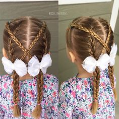 """1,044 Likes, 18 Comments - Cami Toddler Hair Ideas (@toddlerhairideas) on Instagram: """"Today I did french braids and criss-crossed regular braids! This is a cute and fun style that…"""""""