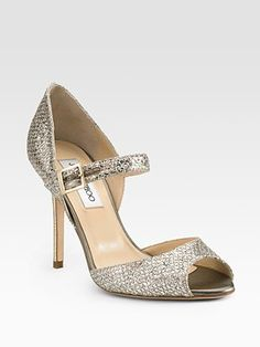 Pebbled Metallic Leather Mary Jane Pumps