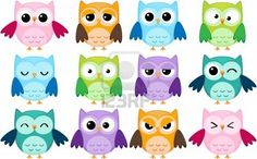 Illustration of Set of 12 cartoon owls with various emotions vector art, clipart and stock vectors.