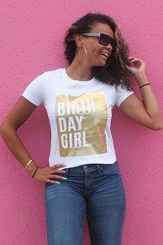 """This irresistibly cute tshirt will make any girl feel like a Queen on her birthday and every day! It's the perfect white tee with a touch of royalty in the gold """"Birthday Girl"""" design! Be a show stopp"""