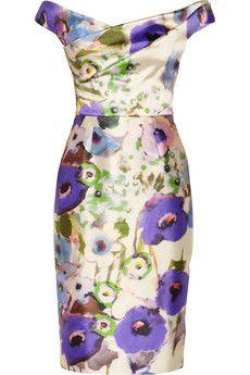 Lela Rose Floral-print satin dress | NET-A-PORTER