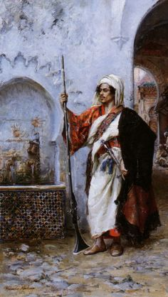 An Arab warrior.  Painting by Raimundo de Madrazo y Garreta (1841-1920).  Late-Ottoman era, Egypt, c. 1890.