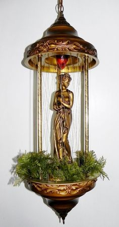 Vintage 1960's Gold Goddess Motion Rain Lamp Hanging Swag Clean & New Oil