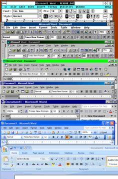 Microsoft Word window bar evolution 1985-2007