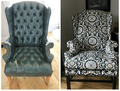 Here's how I took an eyesore of an old armchair and turned it into a showpiece -my no sew method to reupholster a wingback chair.