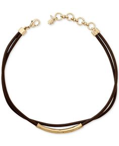 Lucky Brand Gold-Tone Brown Leather Choker Necklace