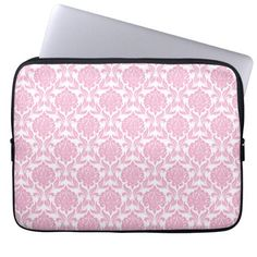 Stylish Pink Damask Pattern Laptop Sleeve