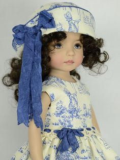 Toile dress modeled by Dianna Effner Little Darling doll, seamstress melanie_hazel819 ebay name (a repin)