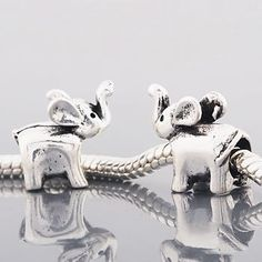 One Silver Bead Spacer Charm Elephant Fits Pandora Chamilia Troll Style Bracelet