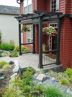 Ideas for enhancing the front porch with a pergola/ trellis