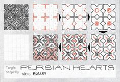 Persian Hearts - tangle pattern - Artist at work Tangle Doodle, Tangle Art, Zen Doodle, Doodle Art, Zentangle Drawings, Doodles Zentangles, Doodle Drawings, 3d Drawings, Doodle Patterns