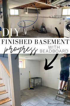 DIY finished basement progress with beadboard