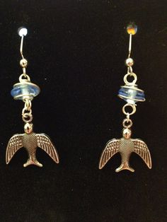 Wire Decorated Blue Bird Earrings by queenofqeeks on Etsy, $8.00