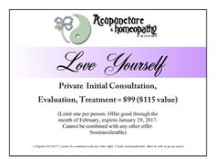 Our January Promotion:  Private Initial Consultation, Evaluation, Treatment $99 ($115 value)  (Limit one per person. Offer good through the month of January, expires January 31, 2017. Cannot be combined with any other offer. Nontransferable.) acuhomeo.com | (407) 373-0606 | plus.google.com/+AcupunctureHomeopathyCenterOrlando/posts | twitter.com/acuhomeo