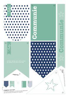 COMMUNIE | printable vlaggen | polkadots | blue white aqua blauw wit | feest | party