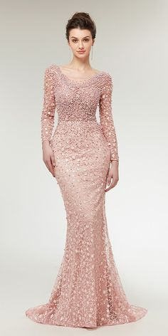 Stunning Lace Scoop Neckline Long Sleeves Mermaid Evening Dress With Beadings NEW! Stunning Lace Scoop Neckline Long Sleeves Mermaid Evening Dress Wit h Beadings Prom Party Dresses, Homecoming Dresses, Bridal Dresses, Bridesmaid Dresses, Occasion Dresses, Dress Prom, Best Wedding Guest Dresses, Gown Wedding, Trendy Dresses