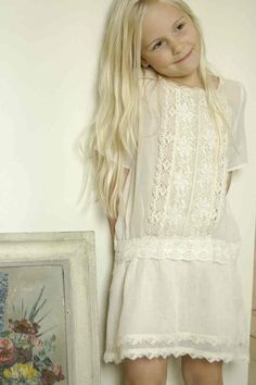 Alexa dress: Alexa is a stunning vintage inspired dress made from certified organic cotton. It is embellished with one-of-a-kind vintage lace trimmings at the front and hemline. Simply slips on. Little Girl Fashion, Little Girl Dresses, Kids Fashion, Girls Dresses, Flower Girl Dresses, Flower Girls, Dress Girl, Fashion Clothes, Style Fashion