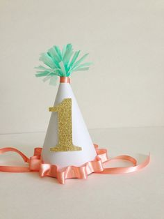 Custom Paper First Birthday Party Hat    Peach, Mint, and Gold Glitter on Etsy, $15.00