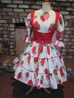 Strawberry Square Dance Dress on Etsy, $50.00